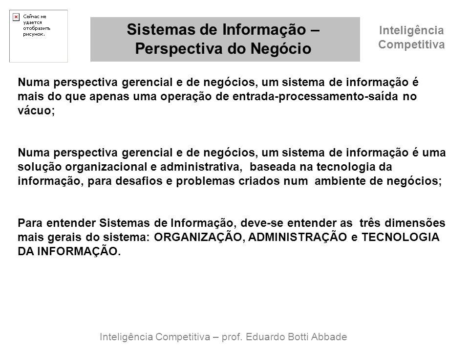 Inteligência Competitiva Sistemas de Informação – Perspectiva do Negócio Inteligência Competitiva – prof. Eduardo Botti Abbade Numa perspectiva gerenc
