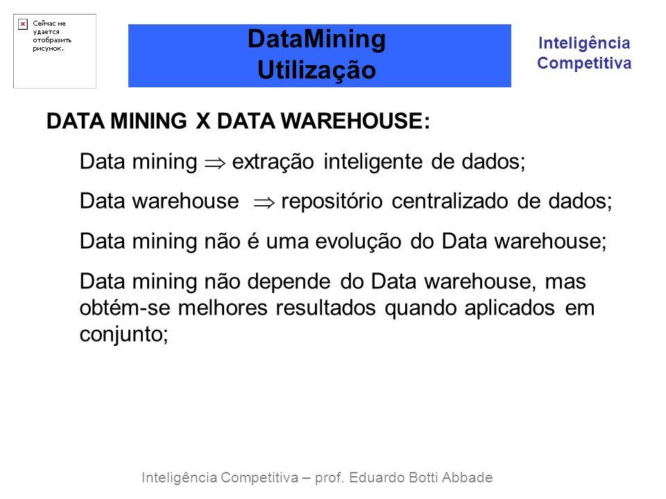 Inteligência Competitiva DataMining Utilização Inteligência Competitiva – prof. Eduardo Botti Abbade DATA MINING X DATA WAREHOUSE: Data mining extraçã