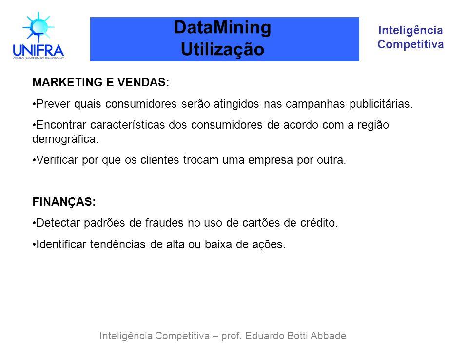 Inteligência Competitiva DataMining Utilização Inteligência Competitiva – prof. Eduardo Botti Abbade MARKETING E VENDAS: Prever quais consumidores ser