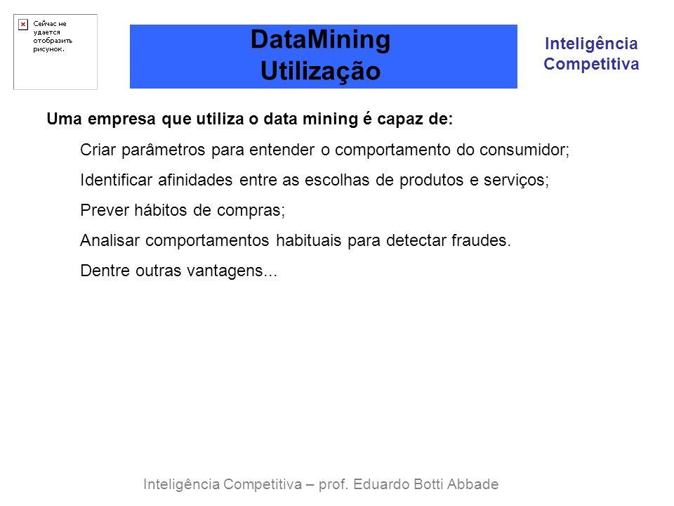 Inteligência Competitiva DataMining Utilização Inteligência Competitiva – prof. Eduardo Botti Abbade Uma empresa que utiliza o data mining é capaz de: