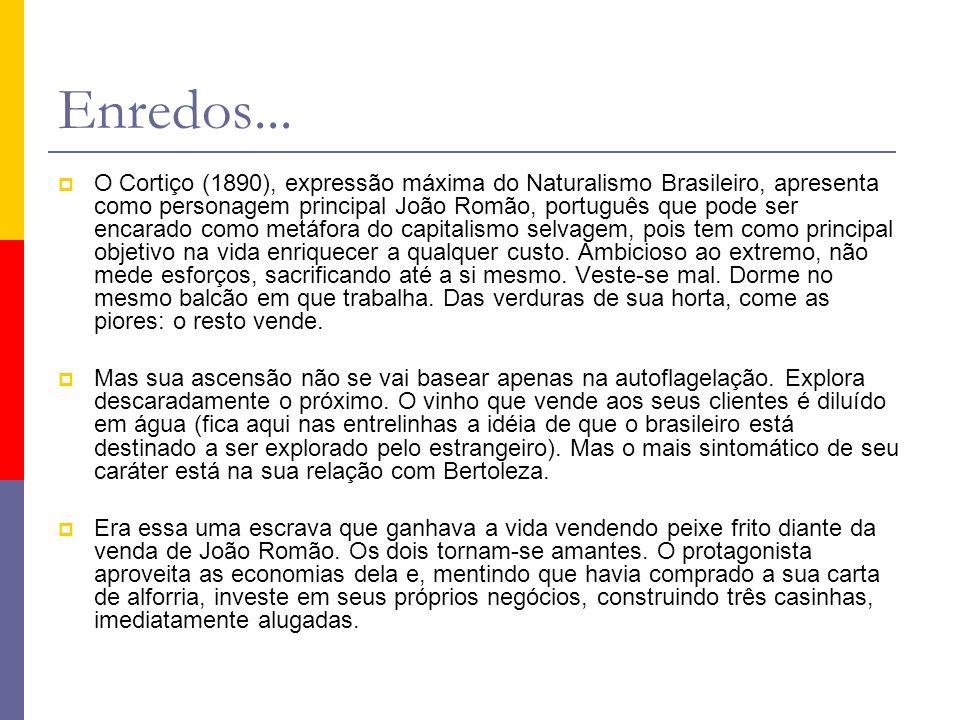 Enredos... O Cortiço (1890), expressão máxima do Naturalismo Brasileiro, apresenta como personagem principal João Romão, português que pode ser encara