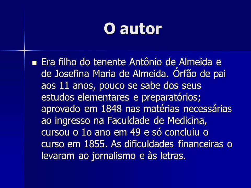 O autor De junho de 1852 a julho de 1853 publicou, anonimamente e aos poucos, os folhetins que compõem as Memórias de um sargento de milícias, reunidas em livro em 1854 (1o volume) e 1855 (2o volume) com o pseudônimo de Um Brasileiro .