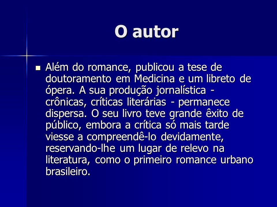 O autor Além do romance, publicou a tese de doutoramento em Medicina e um libreto de ópera. A sua produção jornalística - crônicas, críticas literária