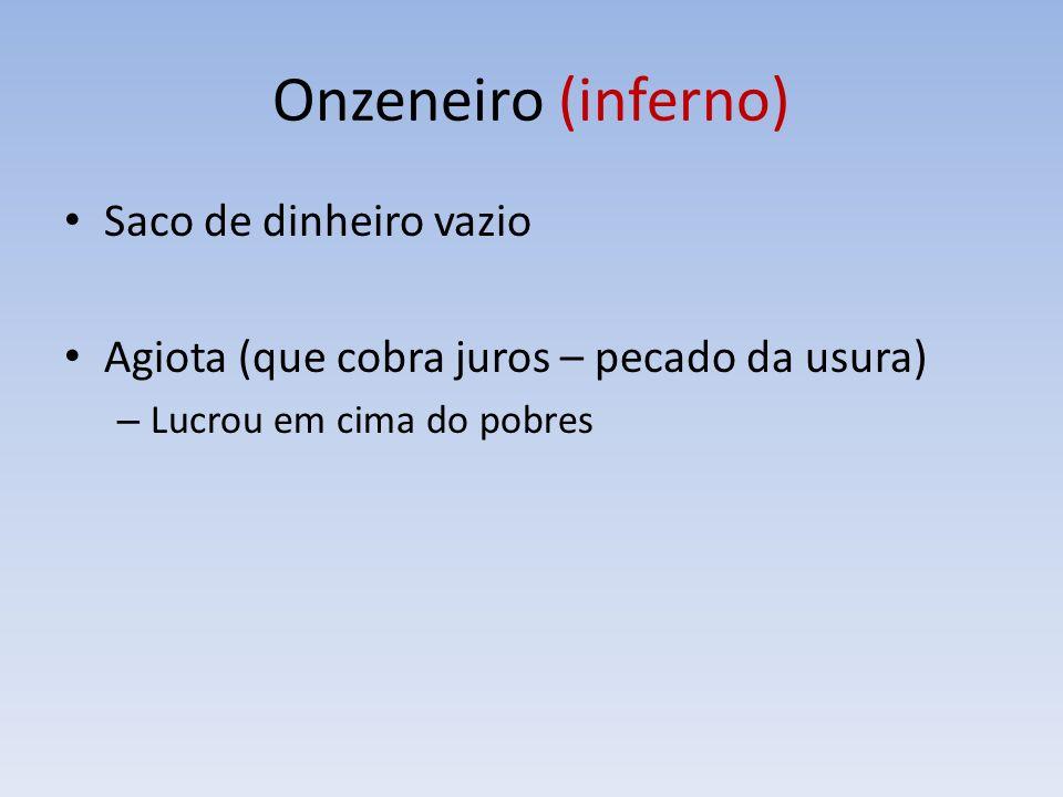Onzeneiro (inferno) Saco de dinheiro vazio Agiota (que cobra juros – pecado da usura) – Lucrou em cima do pobres
