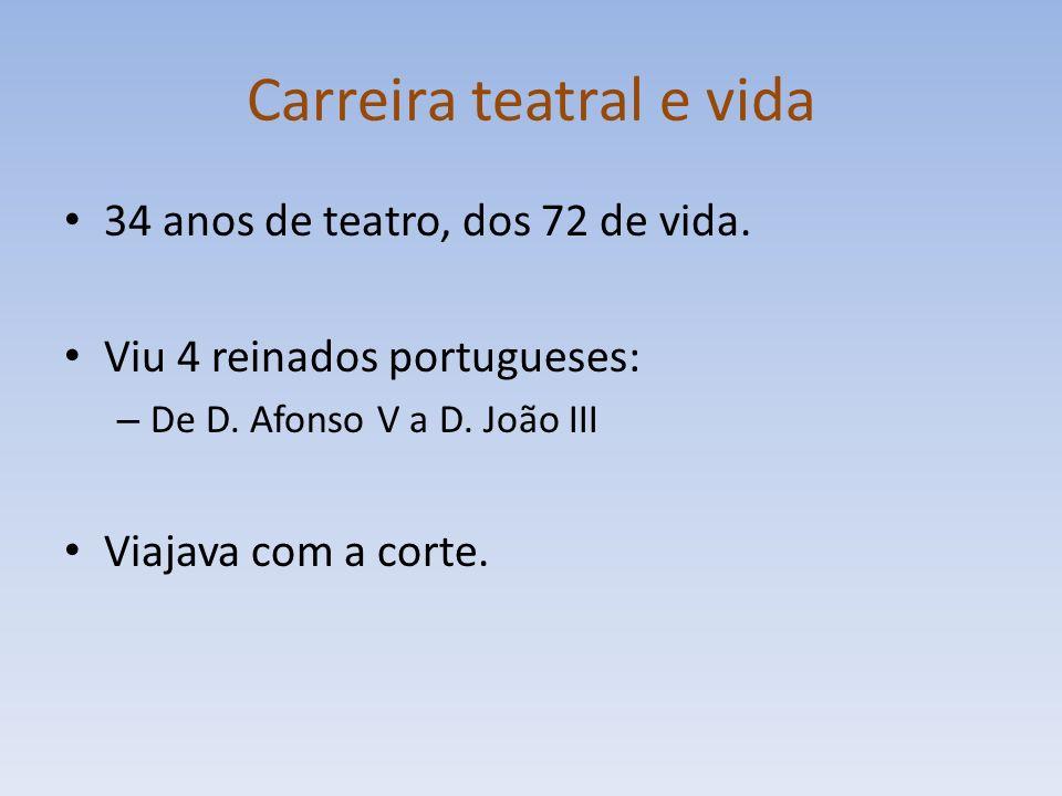 Carreira teatral e vida 34 anos de teatro, dos 72 de vida. Viu 4 reinados portugueses: – De D. Afonso V a D. João III Viajava com a corte.