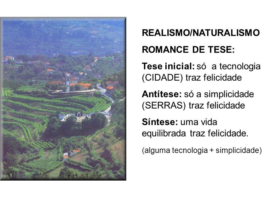 REALISMO/NATURALISMO ROMANCE DE TESE: Tese inicial: só a tecnologia (CIDADE) traz felicidade Antítese: só a simplicidade (SERRAS) traz felicidade Sínt