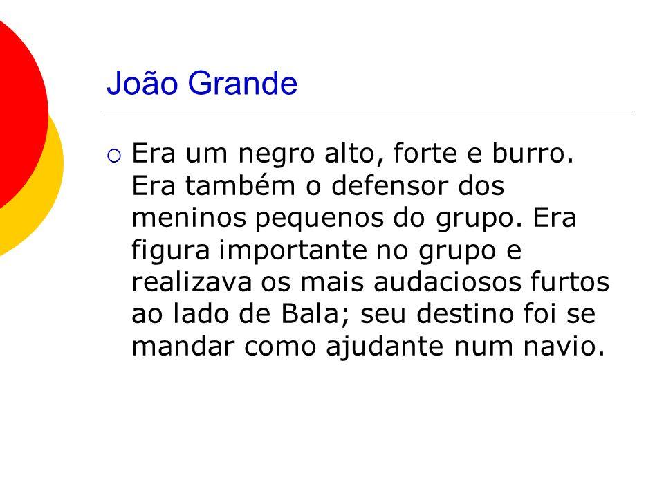 João Grande Era um negro alto, forte e burro.Era também o defensor dos meninos pequenos do grupo.