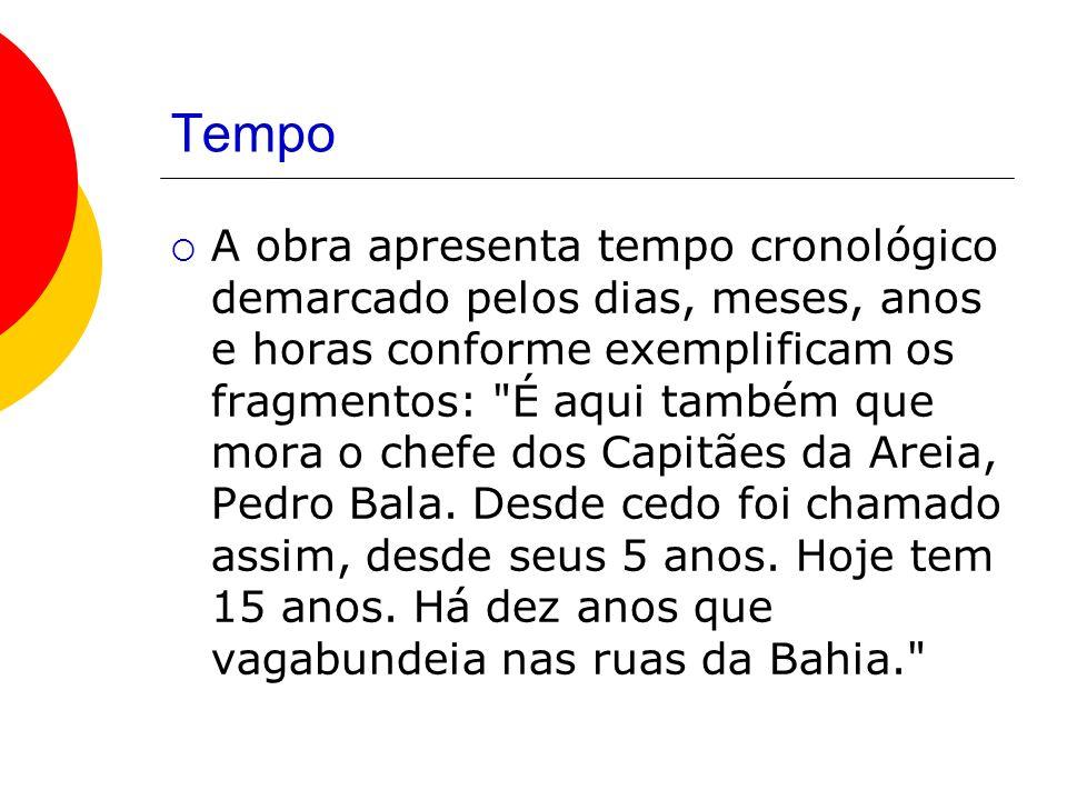 Tempo A obra apresenta tempo cronológico demarcado pelos dias, meses, anos e horas conforme exemplificam os fragmentos: É aqui também que mora o chefe dos Capitães da Areia, Pedro Bala.