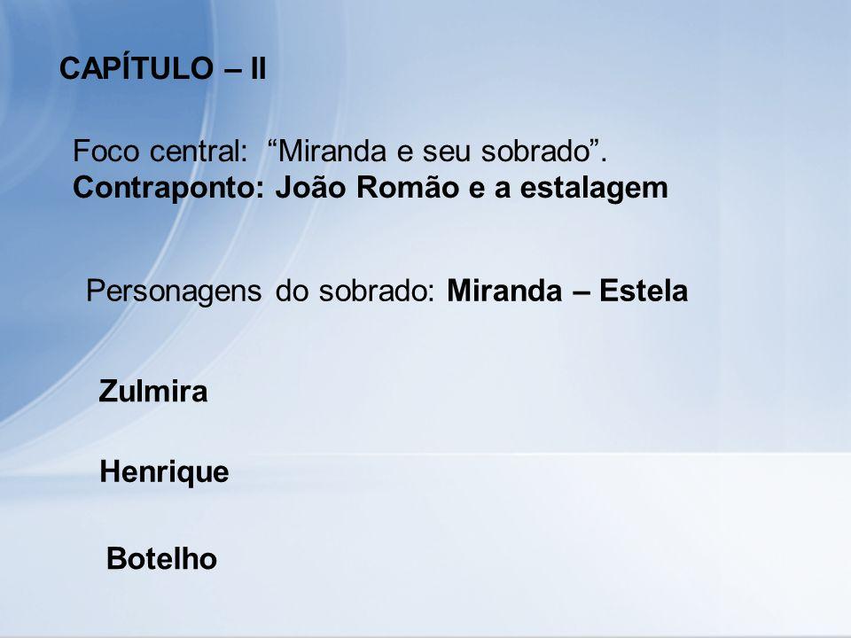 CAPÍTULO – II Foco central: Miranda e seu sobrado. Contraponto: João Romão e a estalagem Personagens do sobrado: Miranda – Estela Zulmira Henrique Bot
