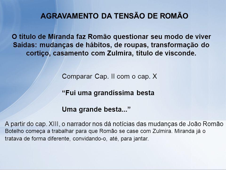 AGRAVAMENTO DA TENSÃO DE ROMÃO O título de Miranda faz Romão questionar seu modo de viver Saídas: mudanças de hábitos, de roupas, transformação do cor