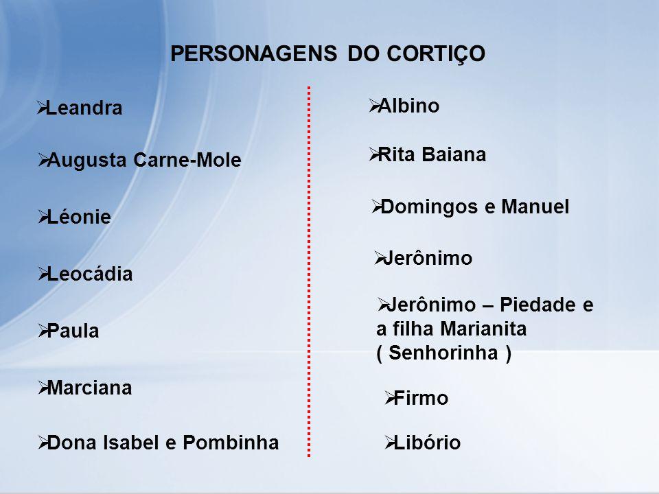 PERSONAGENS DO CORTIÇO Leandra Augusta Carne-Mole Léonie Leocádia Paula Marciana Dona Isabel e Pombinha Albino Rita Baiana Domingos e Manuel Jerônimo