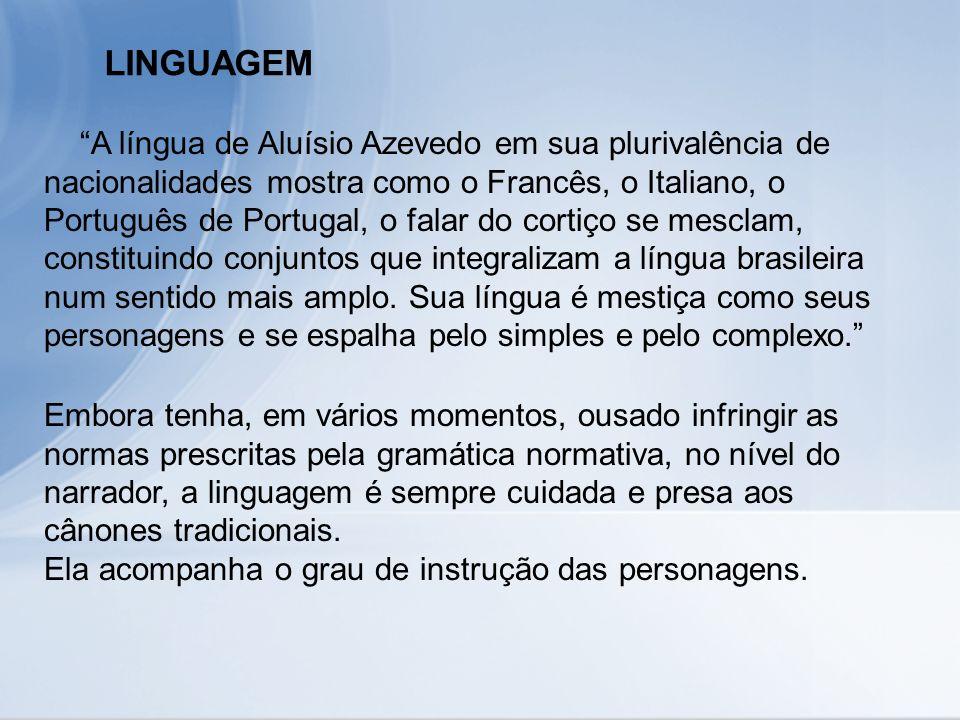LINGUAGEM A língua de Aluísio Azevedo em sua plurivalência de nacionalidades mostra como o Francês, o Italiano, o Português de Portugal, o falar do co