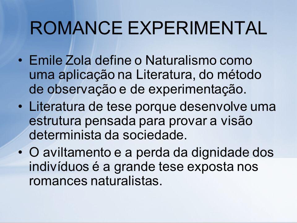 ROMANCE EXPERIMENTAL Emile Zola define o Naturalismo como uma aplicação na Literatura, do método de observação e de experimentação. Literatura de tese