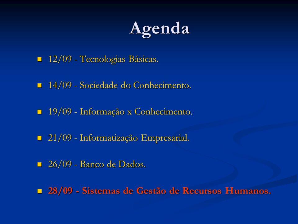 Agenda 12/09 - Tecnologias Básicas. 12/09 - Tecnologias Básicas.