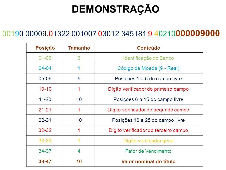 PosiçãoTamanhoConteúdo 01-033Identificação do Banco 04-041Código de Moeda (9 - Real) 05-095Posições 1 a 5 do campo livre 10-101Dígito verificador do p