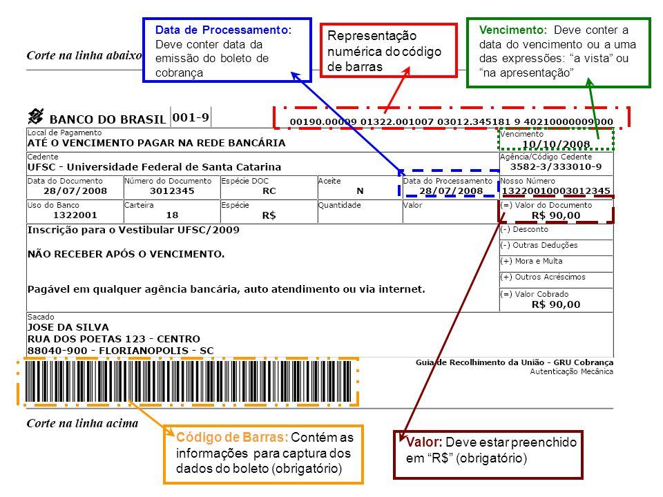 Data de Processamento: Deve conter data da emissão do boleto de cobrança Representação numérica do código de barras Vencimento: Deve conter a data do vencimento ou a uma das expressões: a vista ou na apresentação Código de Barras: Contém as informações para captura dos dados do boleto (obrigatório) Valor: Deve estar preenchido em R$ (obrigatório)