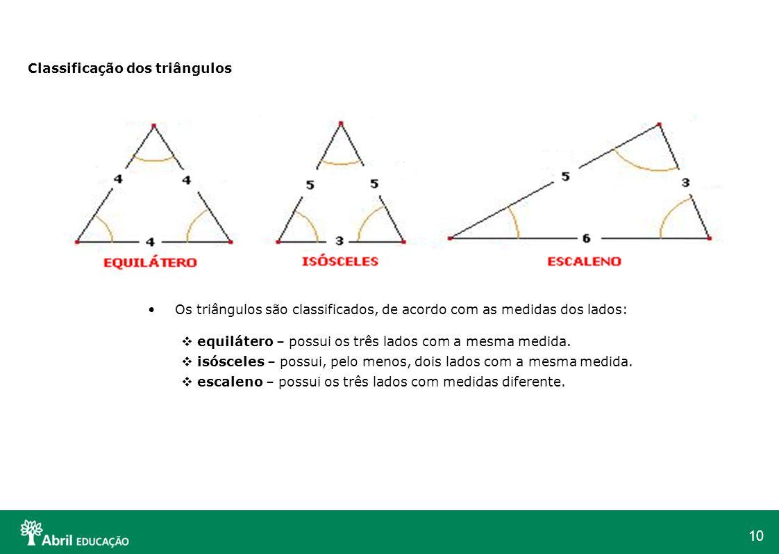 10 Classificação dos triângulos Os triângulos são classificados, de acordo com as medidas dos lados: equilátero – possui os três lados com a mesma med