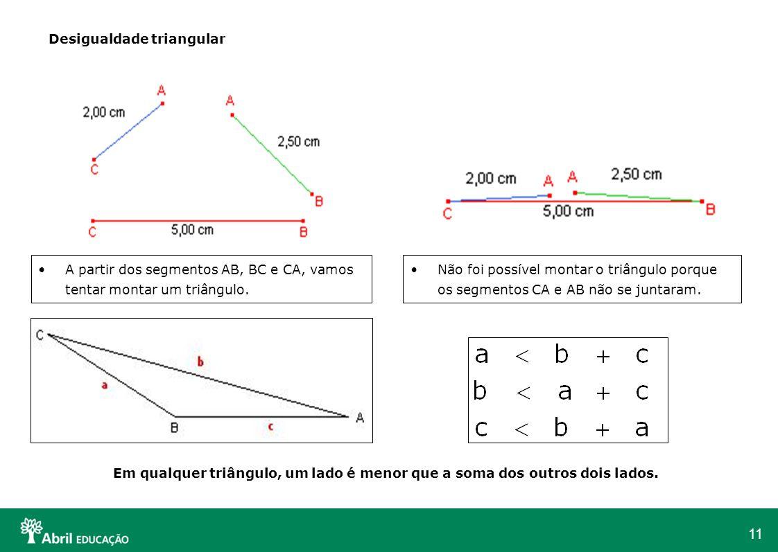 11 Desigualdade triangular A partir dos segmentos AB, BC e CA, vamos tentar montar um triângulo. Não foi possível montar o triângulo porque os segment