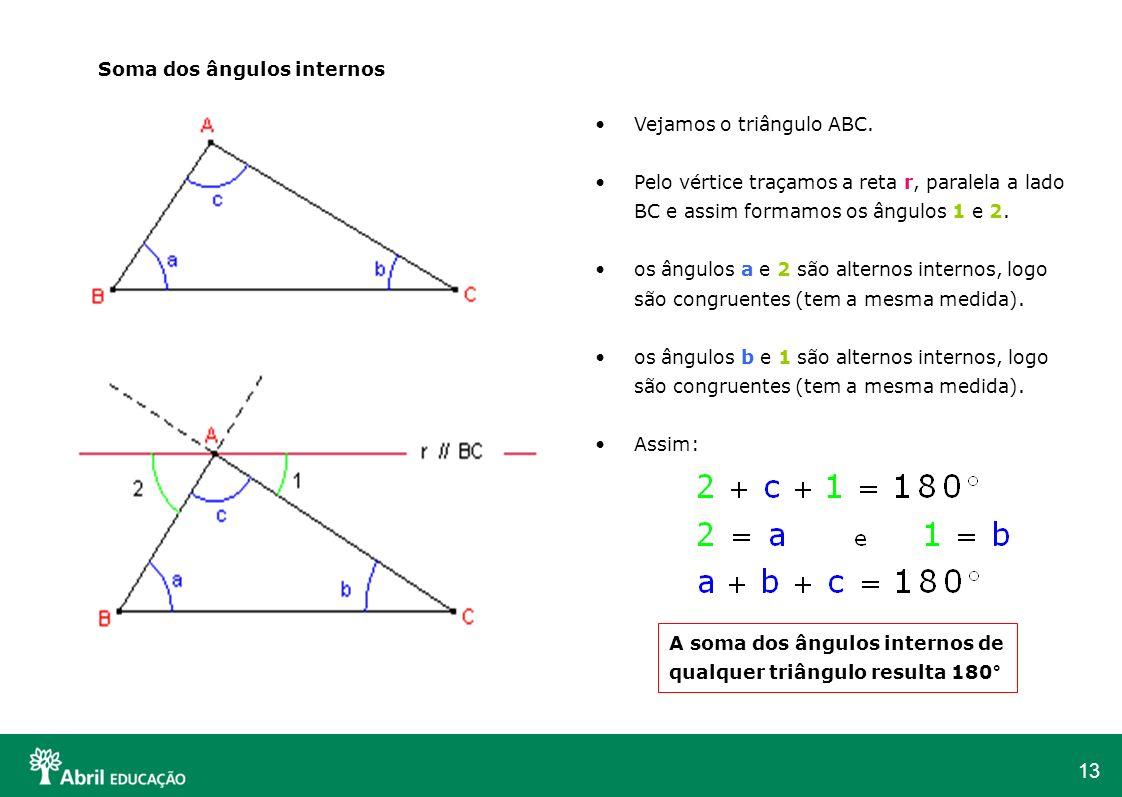 13 Soma dos ângulos internos Vejamos o triângulo ABC. Pelo vértice traçamos a reta r, paralela a lado BC e assim formamos os ângulos 1 e 2. os ângulos