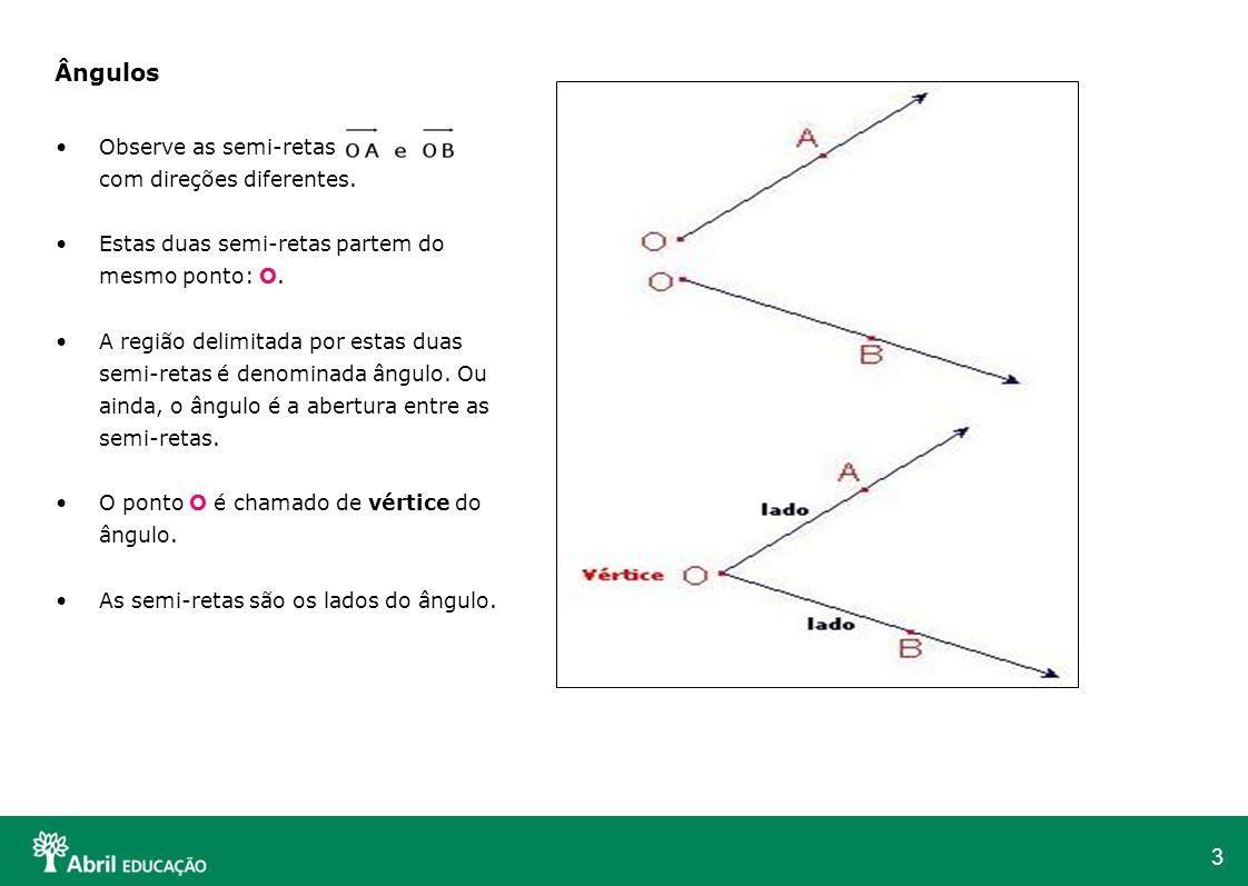 3 Ângulos Observe as semi-retas com direções diferentes. Estas duas semi-retas partem do mesmo ponto: O. A região delimitada por estas duas semi-retas
