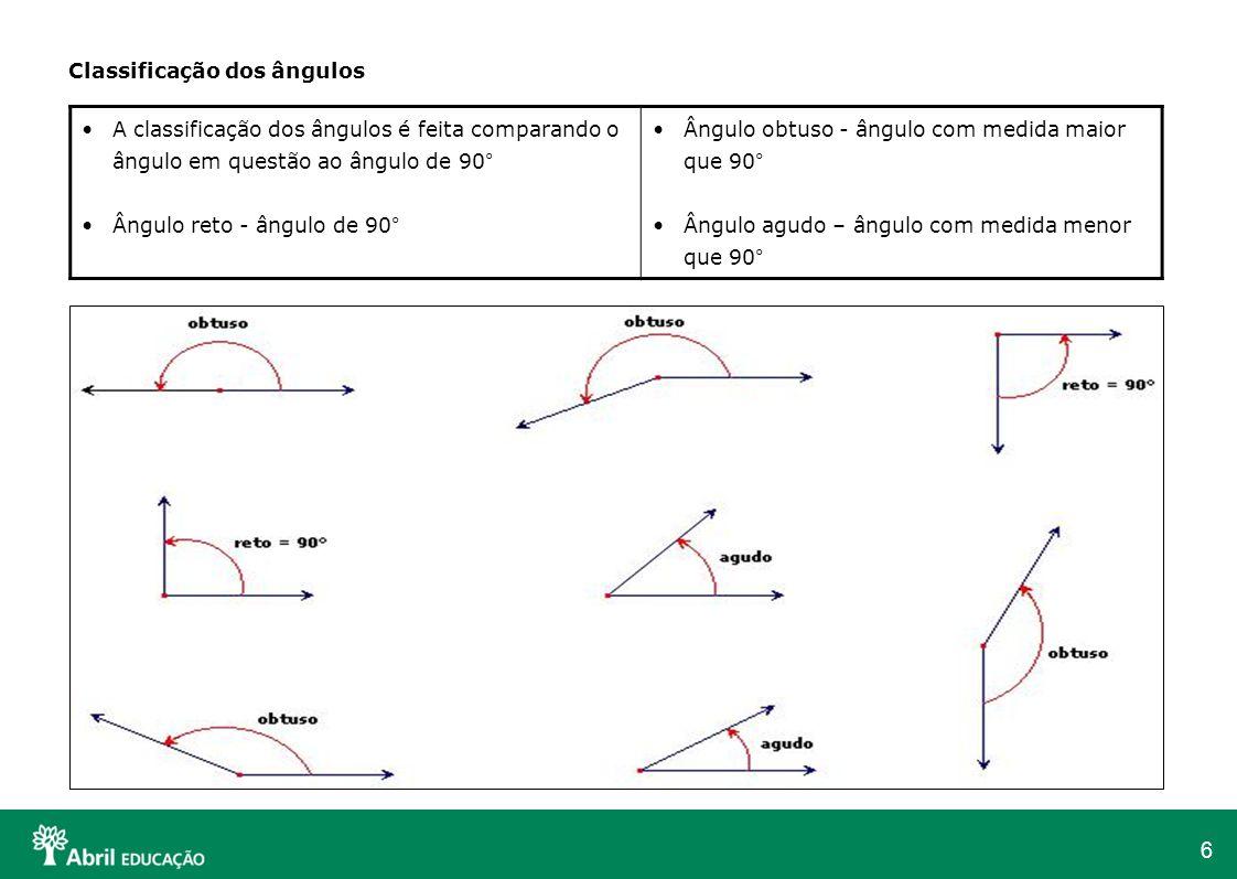 6 Classificação dos ângulos A classificação dos ângulos é feita comparando o ângulo em questão ao ângulo de 90° Ângulo reto - ângulo de 90° Ângulo obt
