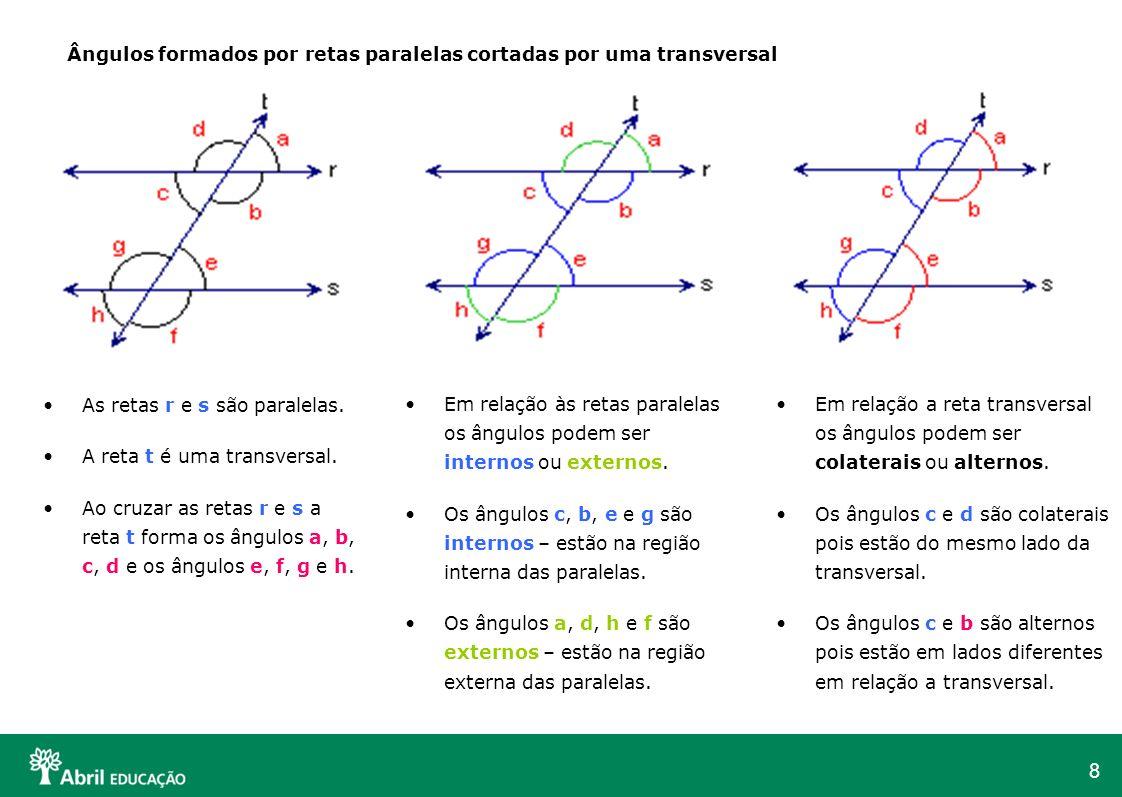 8 Ângulos formados por retas paralelas cortadas por uma transversal As retas r e s são paralelas. A reta t é uma transversal. Ao cruzar as retas r e s