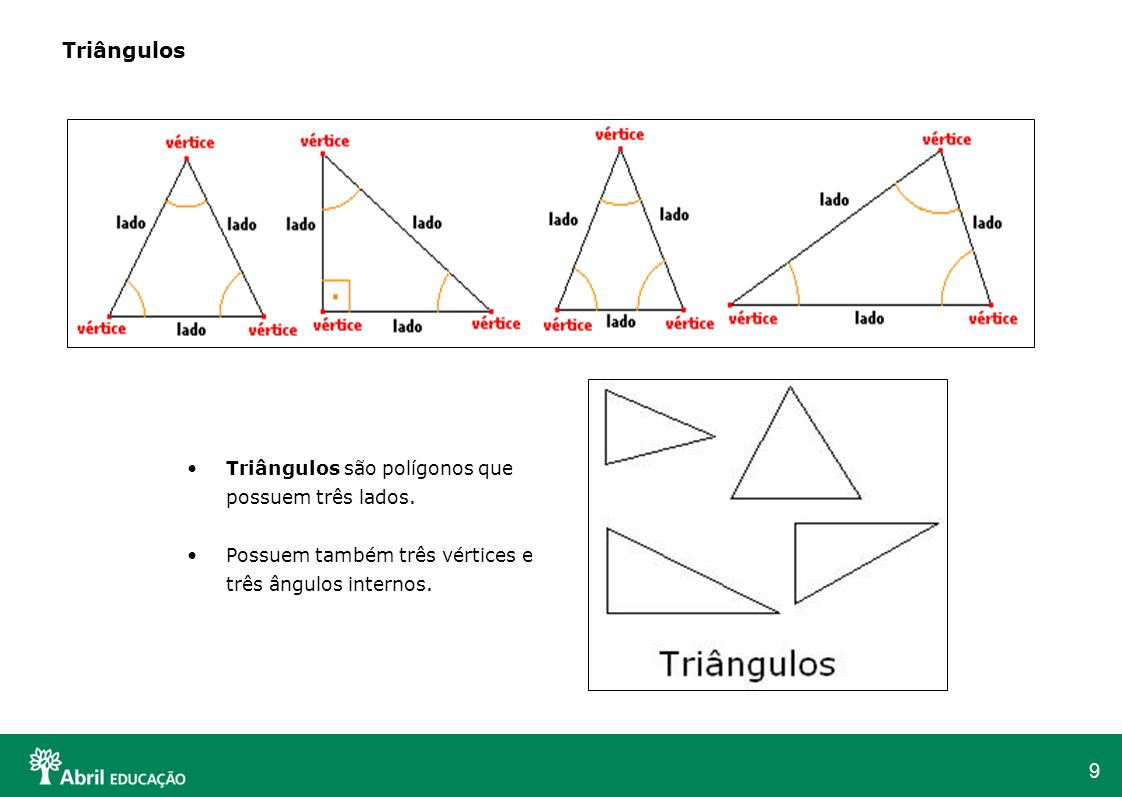 9 Triângulos Triângulos são polígonos que possuem três lados. Possuem também três vértices e três ângulos internos.