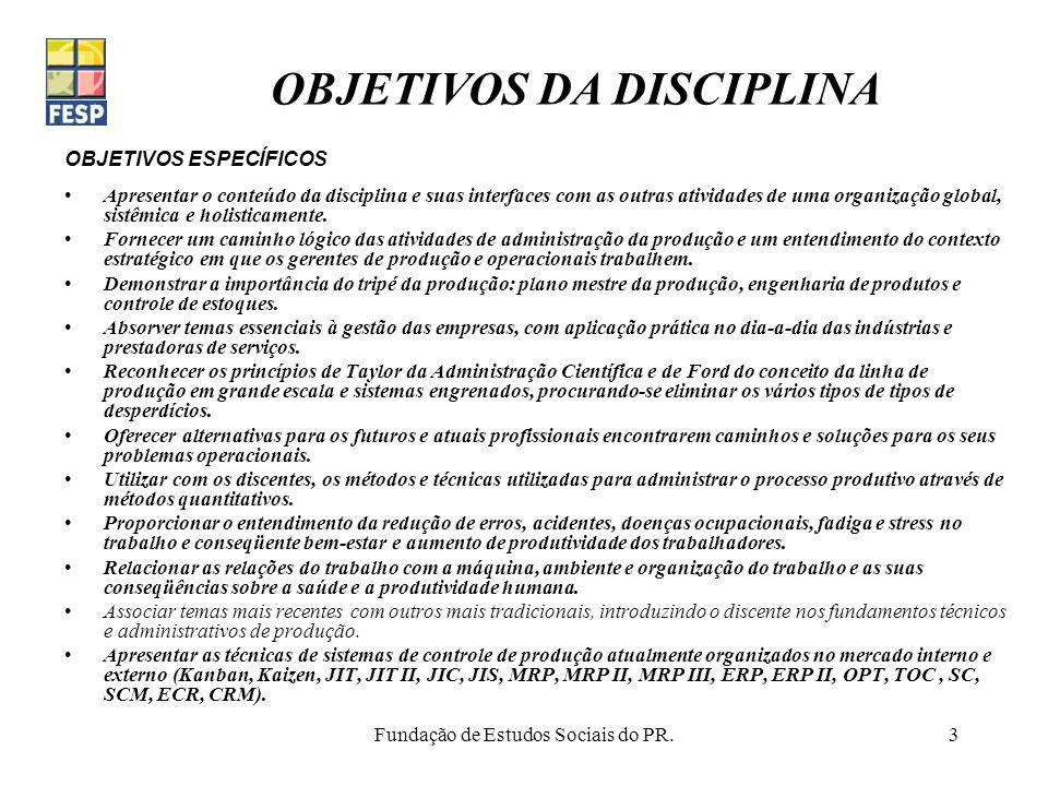 Fundação de Estudos Sociais do PR.3 OBJETIVOS ESPECÍFICOS Apresentar o conteúdo da disciplina e suas interfaces com as outras atividades de uma organi