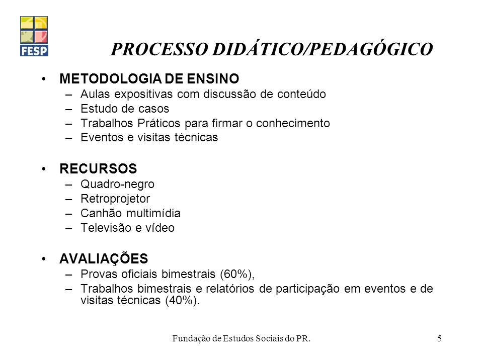 Fundação de Estudos Sociais do PR.5 PROCESSO DIDÁTICO/PEDAGÓGICO METODOLOGIA DE ENSINO –Aulas expositivas com discussão de conteúdo –Estudo de casos –
