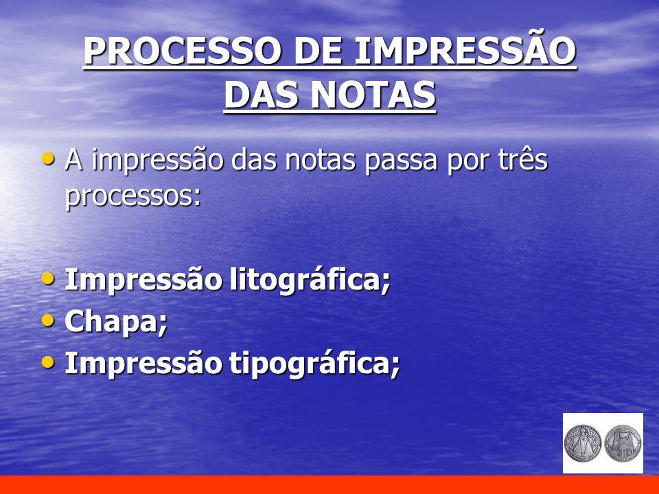 PROCESSO DE IMPRESSÃO DAS NOTAS A impressão das notas passa por três processos: A impressão das notas passa por três processos: Impressão litográfica;
