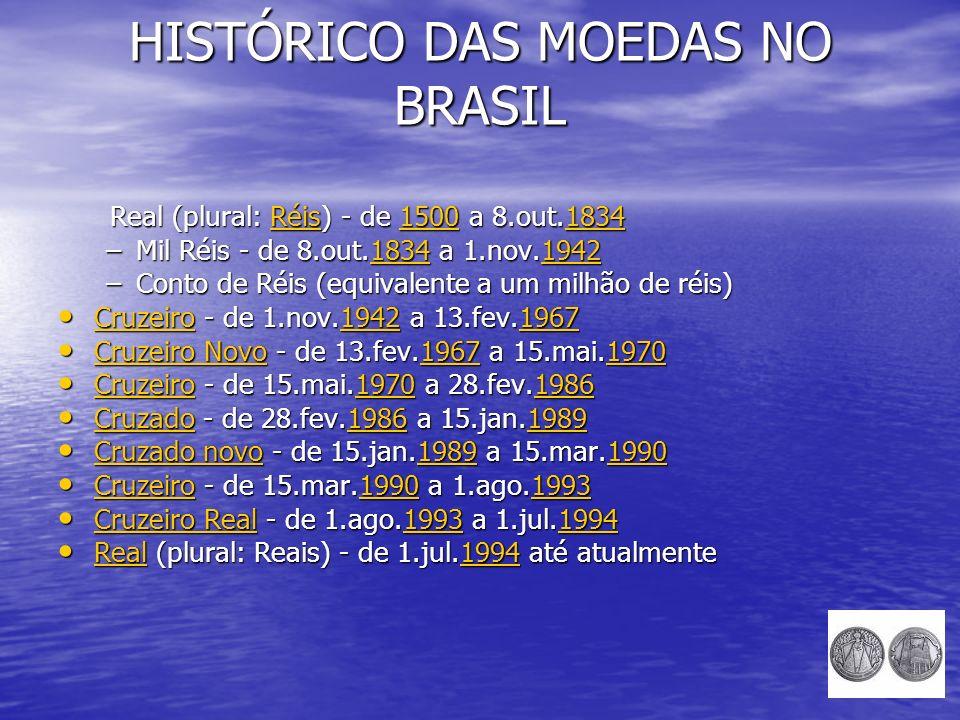 HISTÓRICO DAS MOEDAS NO BRASIL Real (plural: Réis) - de 1500 a 8.out.1834 Real (plural: Réis) - de 1500 a 8.out.1834Réis15001834Réis15001834 –Mil Réis