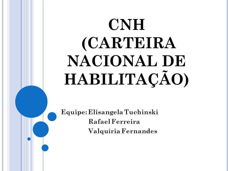 CNH (CARTEIRA NACIONAL DE HABILITAÇÃO) Equipe: Elisangela Tuchinski Rafael Ferreira Valquíria Fernandes