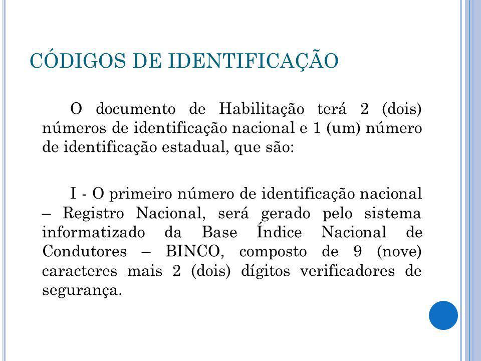 CÓDIGOS DE IDENTIFICAÇÃO O documento de Habilitação terá 2 (dois) números de identificação nacional e 1 (um) número de identificação estadual, que são
