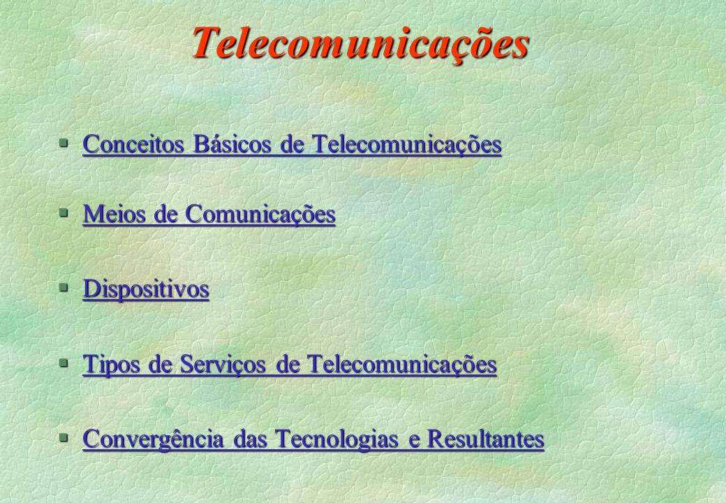 Telecomunicações §Conceitos Básicos de Telecomunicações Conceitos Básicos de TelecomunicaçõesConceitos Básicos de Telecomunicações §Meios de Comunicaç