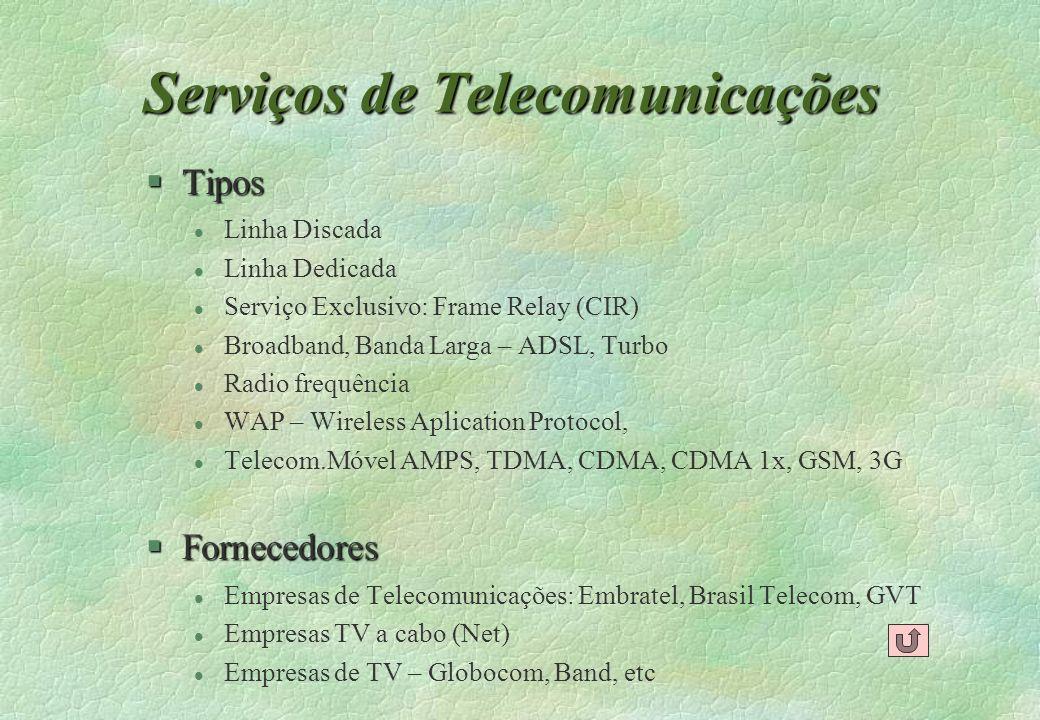 Serviços de Telecomunicações §Tipos l Linha Discada l Linha Dedicada l Serviço Exclusivo: Frame Relay (CIR) l Broadband, Banda Larga – ADSL, Turbo l R