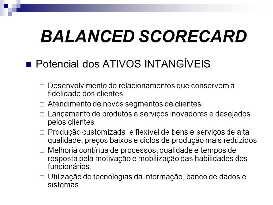 Potencial dos ATIVOS INTANGÍVEIS Desenvolvimento de relacionamentos que conservem a fidelidade dos clientes Atendimento de novos segmentos de clientes