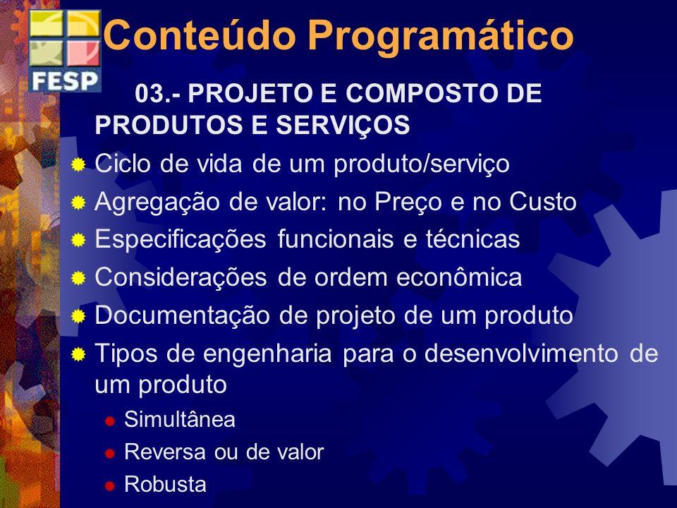 Conteúdo Programático 03.- PROJETO E COMPOSTO DE PRODUTOS E SERVIÇOS Ciclo de vida de um produto/serviço Agregação de valor: no Preço e no Custo Espec