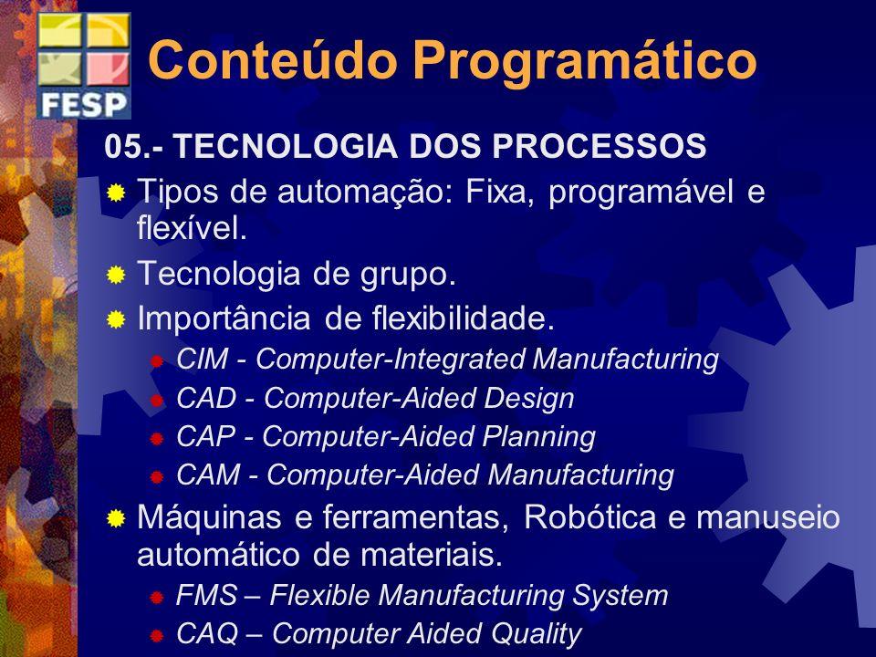 Conteúdo Programático 05.- TECNOLOGIA DOS PROCESSOS Tipos de automação: Fixa, programável e flexível. Tecnologia de grupo. Importância de flexibilidad