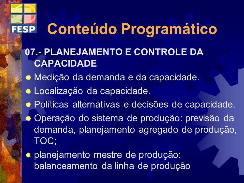 Conteúdo Programático 07.- PLANEJAMENTO E CONTROLE DA CAPACIDADE Medição da demanda e da capacidade. Localização da capacidade. Políticas alternativas