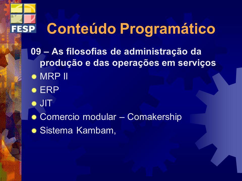 Conteúdo Programático 09 – As filosofias de administração da produção e das operações em serviços MRP II ERP JIT Comercio modular – Comakership Sistem