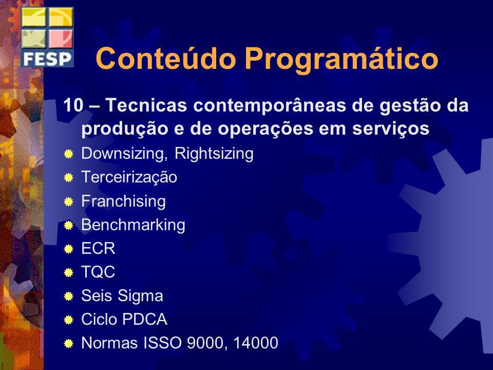 Conteúdo Programático 10 – Tecnicas contemporâneas de gestão da produção e de operações em serviços Downsizing, Rightsizing Terceirização Franchising