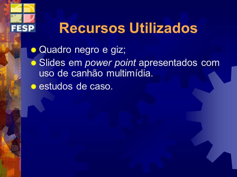 Recursos Utilizados Quadro negro e giz; Slides em power point apresentados com uso de canhão multimídia. estudos de caso.