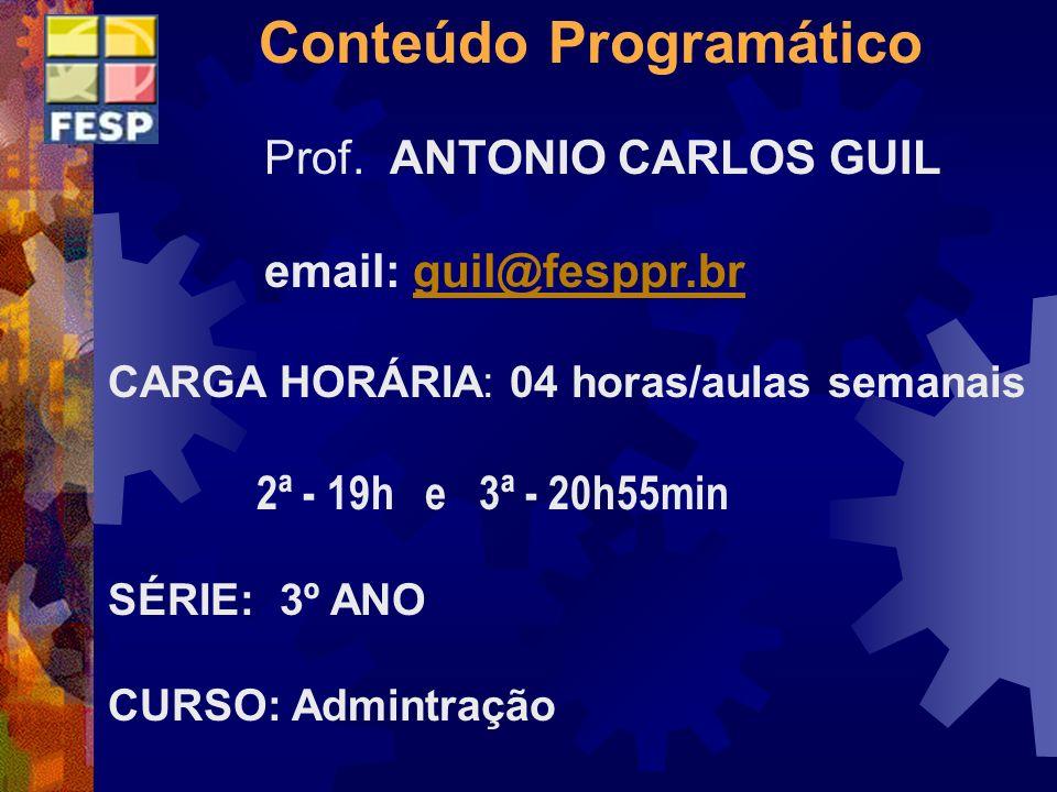 Conteúdo Programático Prof. ANTONIO CARLOS GUIL email: guil@fesppr.brguil@fesppr.br CARGA HORÁRIA: 04 horas/aulas semanais 2ª - 19h e 3ª - 20h55min SÉ
