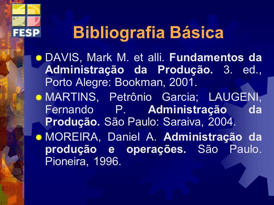 Bibliografia Básica DAVIS, Mark M. et alli. Fundamentos da Administração da Produção. 3. ed., Porto Alegre: Bookman, 2001. MARTINS, Petrônio Garcia; L