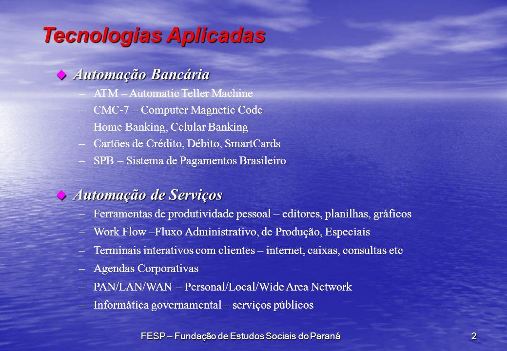 Tecnologias Aplicadas FESP – Fundação de Estudos Sociais do Paraná2 u Automação Bancária –ATM – Automatic Teller Machine –CMC-7 – Computer Magnetic Co