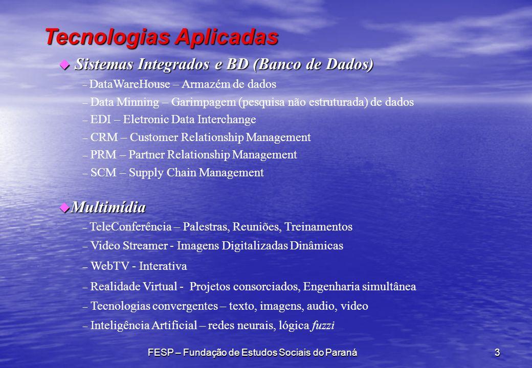 Tecnologias Aplicadas FESP – Fundação de Estudos Sociais do Paraná3 u Sistemas Integrados e BD (Banco de Dados) – DataWareHouse – Armazém de dados – Data Minning – Garimpagem (pesquisa não estruturada) de dados – EDI – Eletronic Data Interchange – CRM – Customer Relationship Management – PRM – Partner Relationship Management – SCM – Supply Chain Management u Multimídia – TeleConferência – Palestras, Reuniões, Treinamentos – Video Streamer - Imagens Digitalizadas Dinâmicas – WebTV - Interativa – Realidade Virtual - Projetos consorciados, Engenharia simultânea – Tecnologias convergentes – texto, imagens, audio, video – Inteligência Artificial – redes neurais, lógica fuzzi