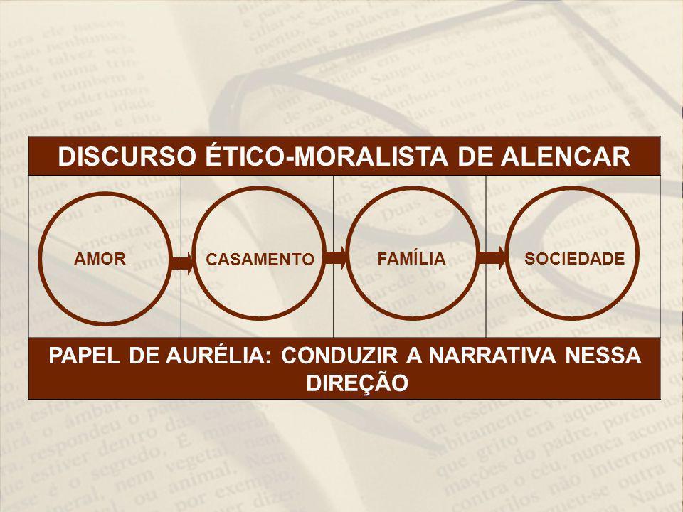 DISCURSO ÉTICO-MORALISTA DE ALENCAR PAPEL DE AURÉLIA: CONDUZIR A NARRATIVA NESSA DIREÇÃO AMOR CASAMENTO FAMÍLIA SOCIEDADE