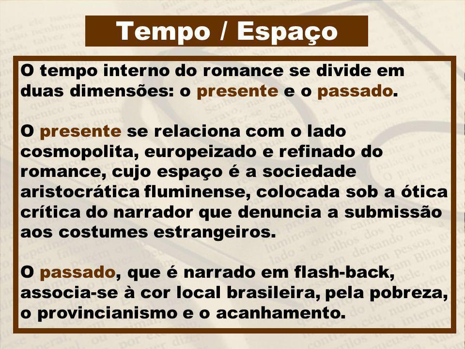 Tempo / Espaço O tempo interno do romance se divide em duas dimensões: o presente e o passado. O presente se relaciona com o lado cosmopolita, europei