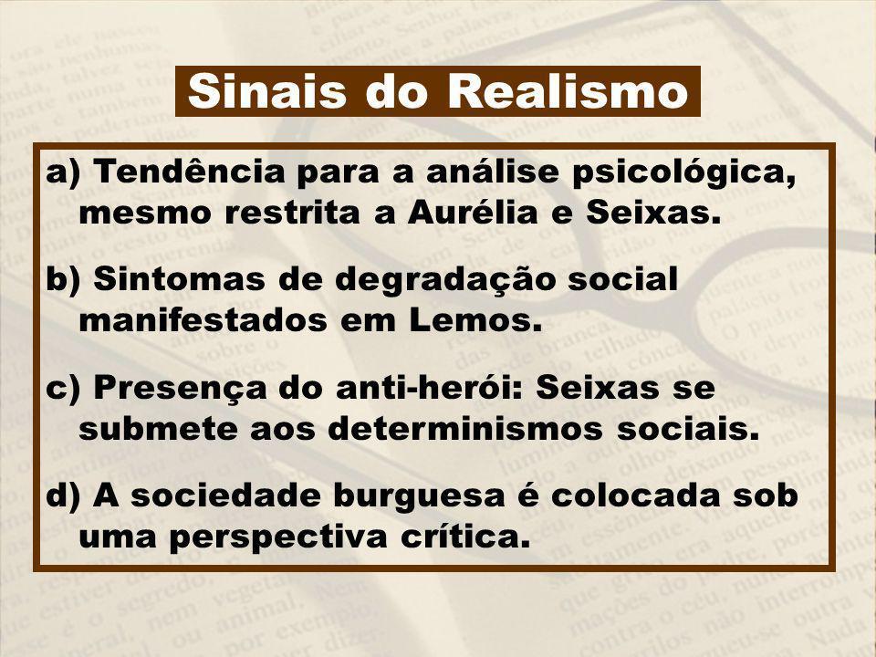 a) Tendência para a análise psicológica, mesmo restrita a Aurélia e Seixas. b) Sintomas de degradação social manifestados em Lemos. c) Presença do ant
