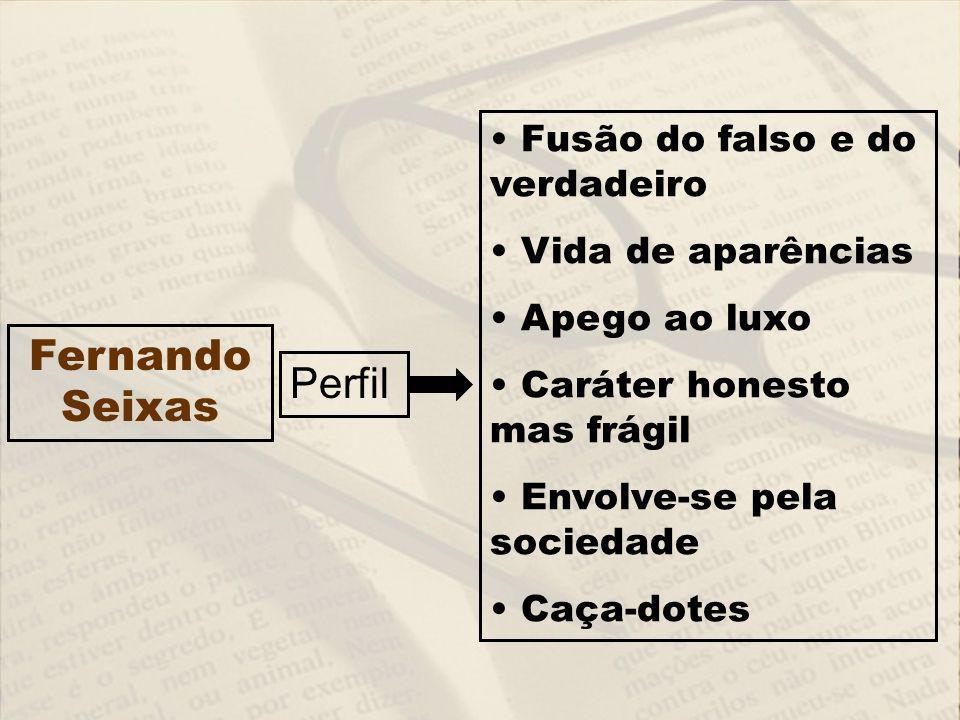 Fusão do falso e do verdadeiro Vida de aparências Apego ao luxo Caráter honesto mas frágil Envolve-se pela sociedade Caça-dotes Perfil Fernando Seixas
